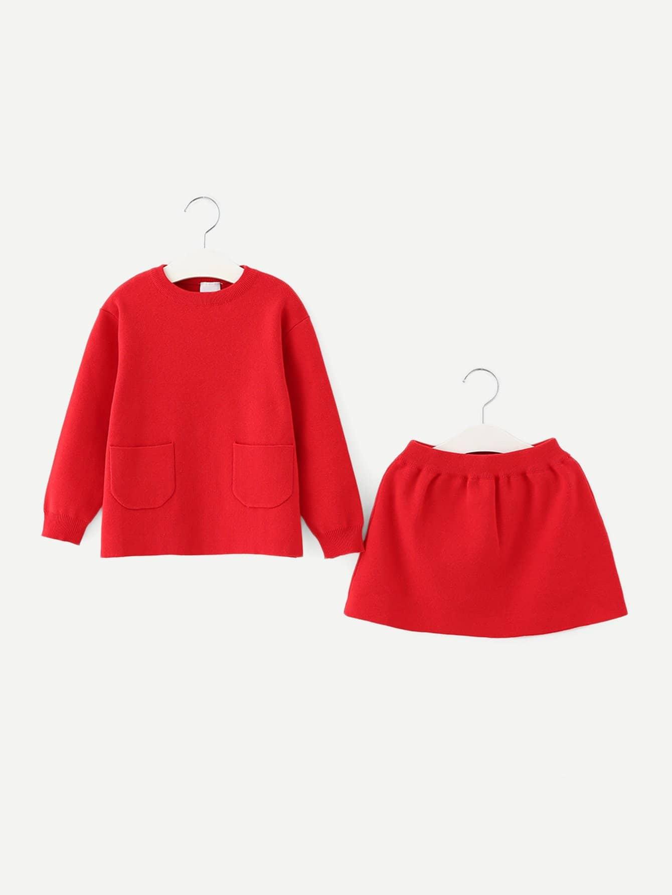 Купить Для девочек твердый свитер и юбка, null, SheIn