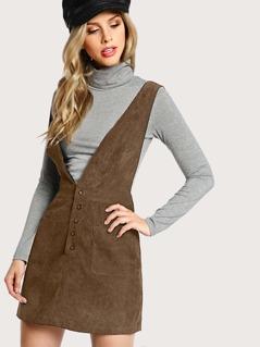 Crisscross Buttoned Plunge Pinafore Dress