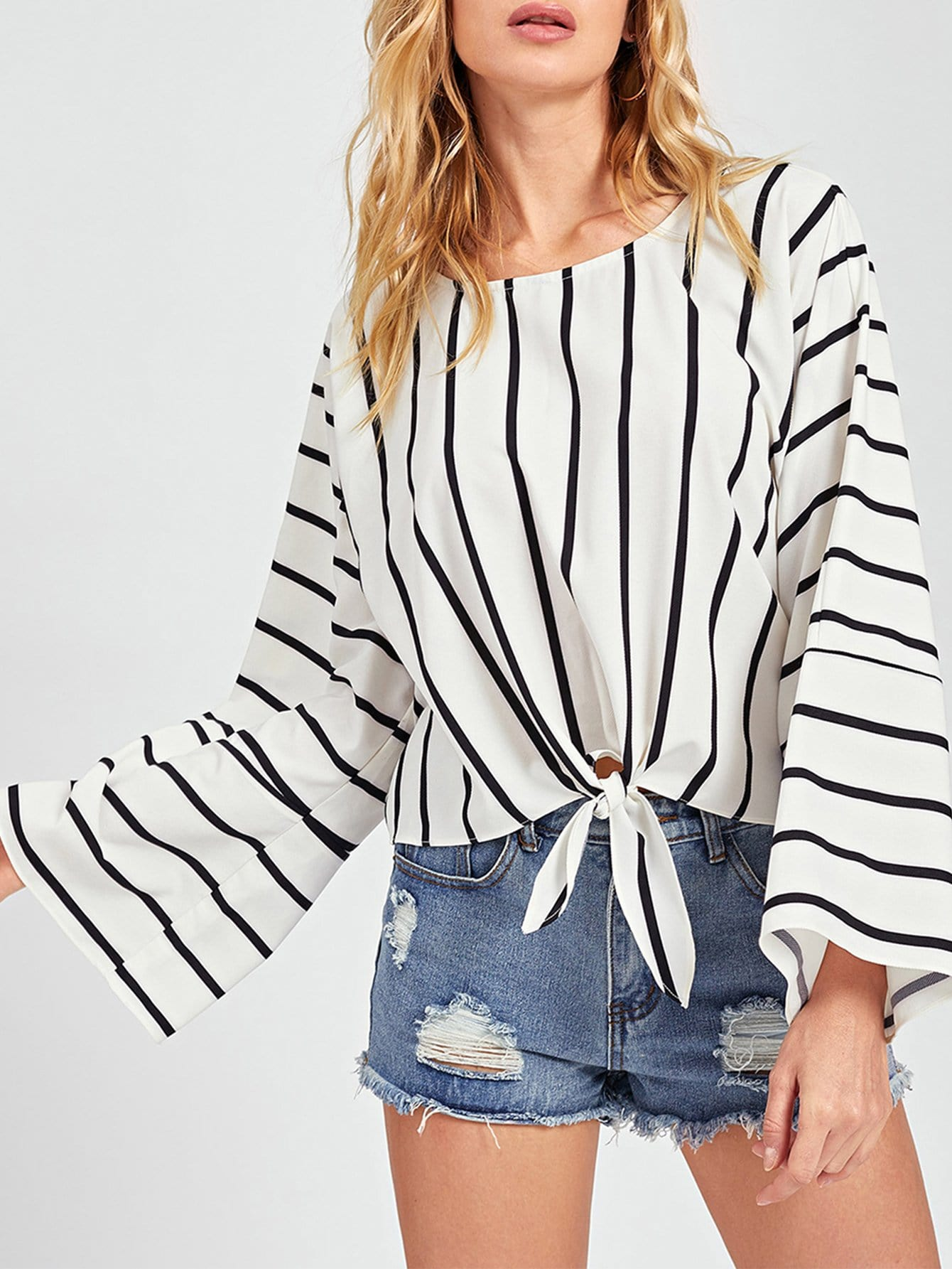 Купить Тонкая-полосатая блуза с бантом, Masha, SheIn