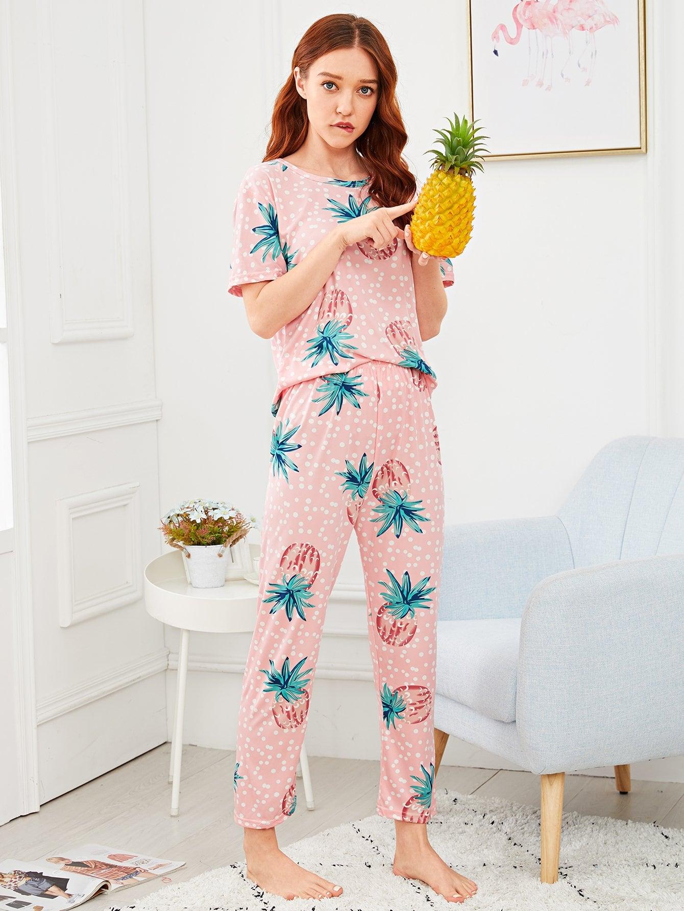 Купить Комплект пижамы в горошек с принтом ананасов, Poly, SheIn