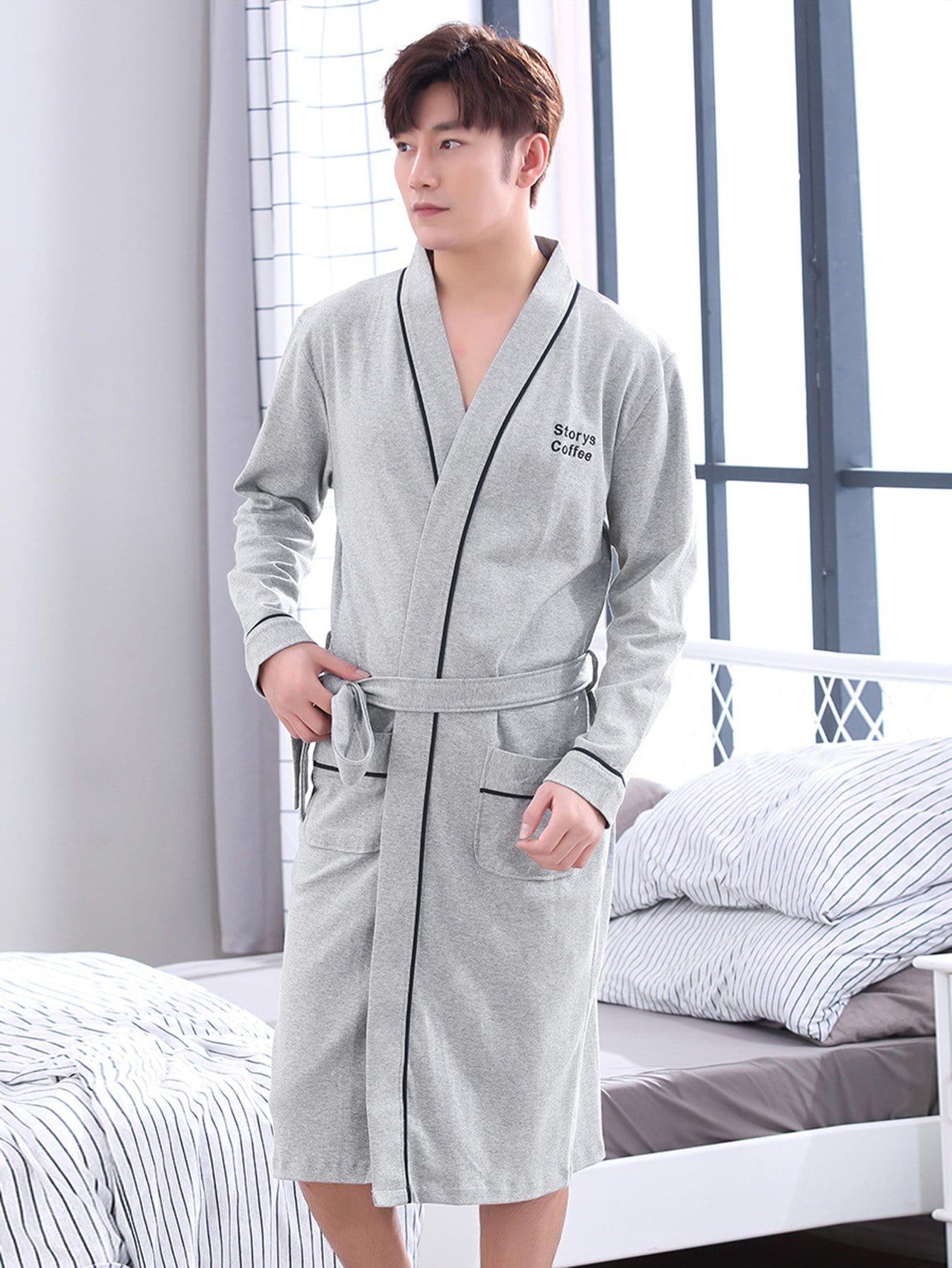 Купить Мужский домашний халат с поясом и принтом вышитых букв, null, SheIn