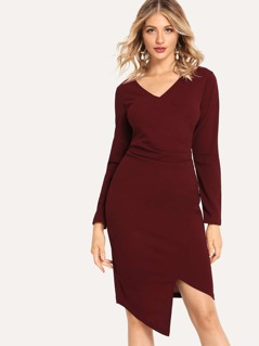 Ruched Surplice Wrap Dress