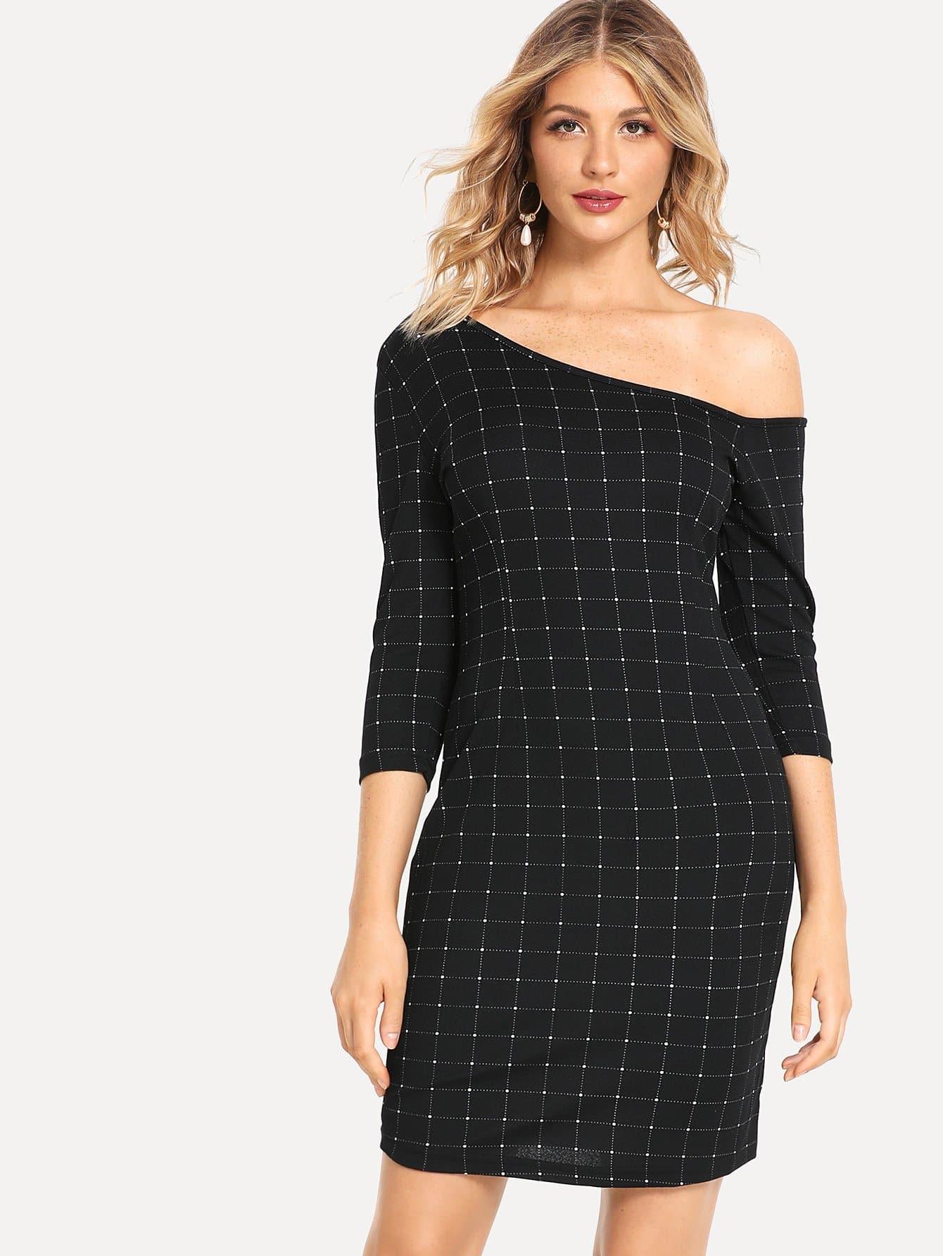 Купить Платье в клетку с асимметричным плечом, Nathane, SheIn