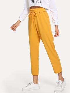 Elastic Drawstring Waist Pants