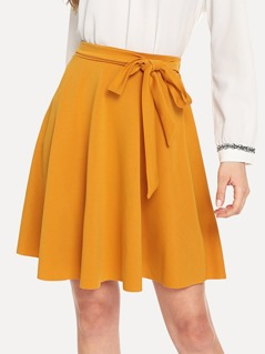 Self Belted A-Line Skirt