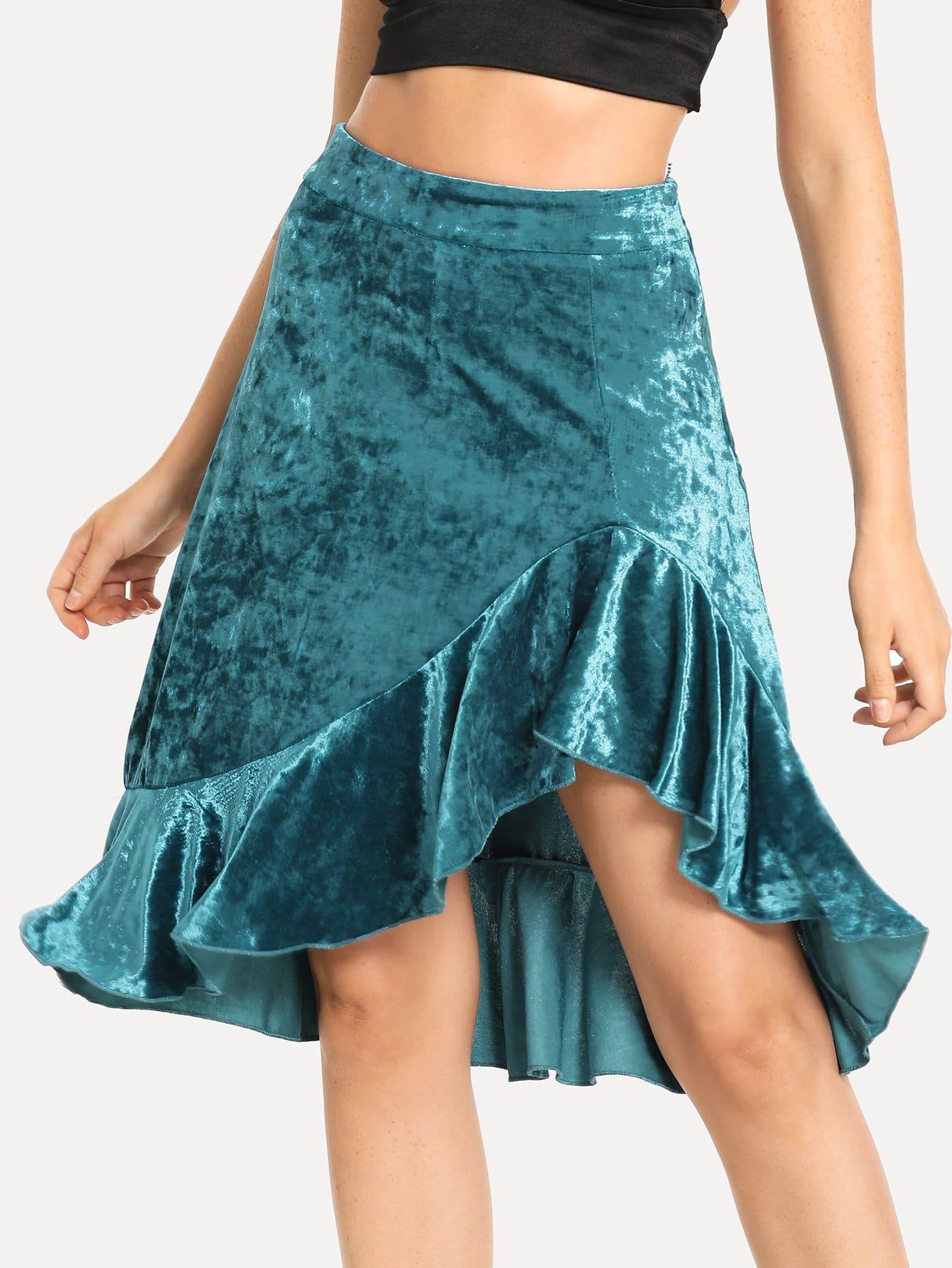Купить Асимметричная бархатная юбка с кружевными оборками, Nathane, SheIn