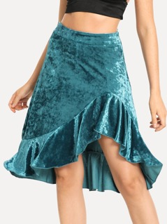 Asymmetrical Ruffle Trim Velvet Skirt