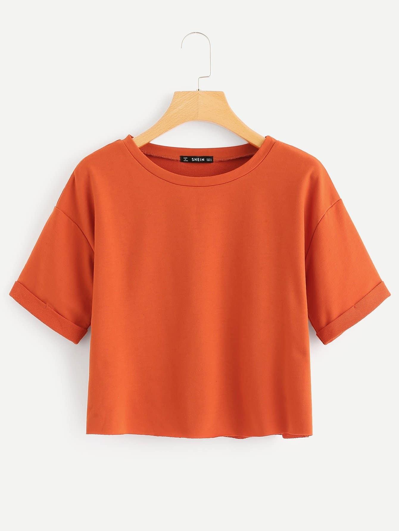 Купить Твердая футболка с заниженной линией плеч, null, SheIn
