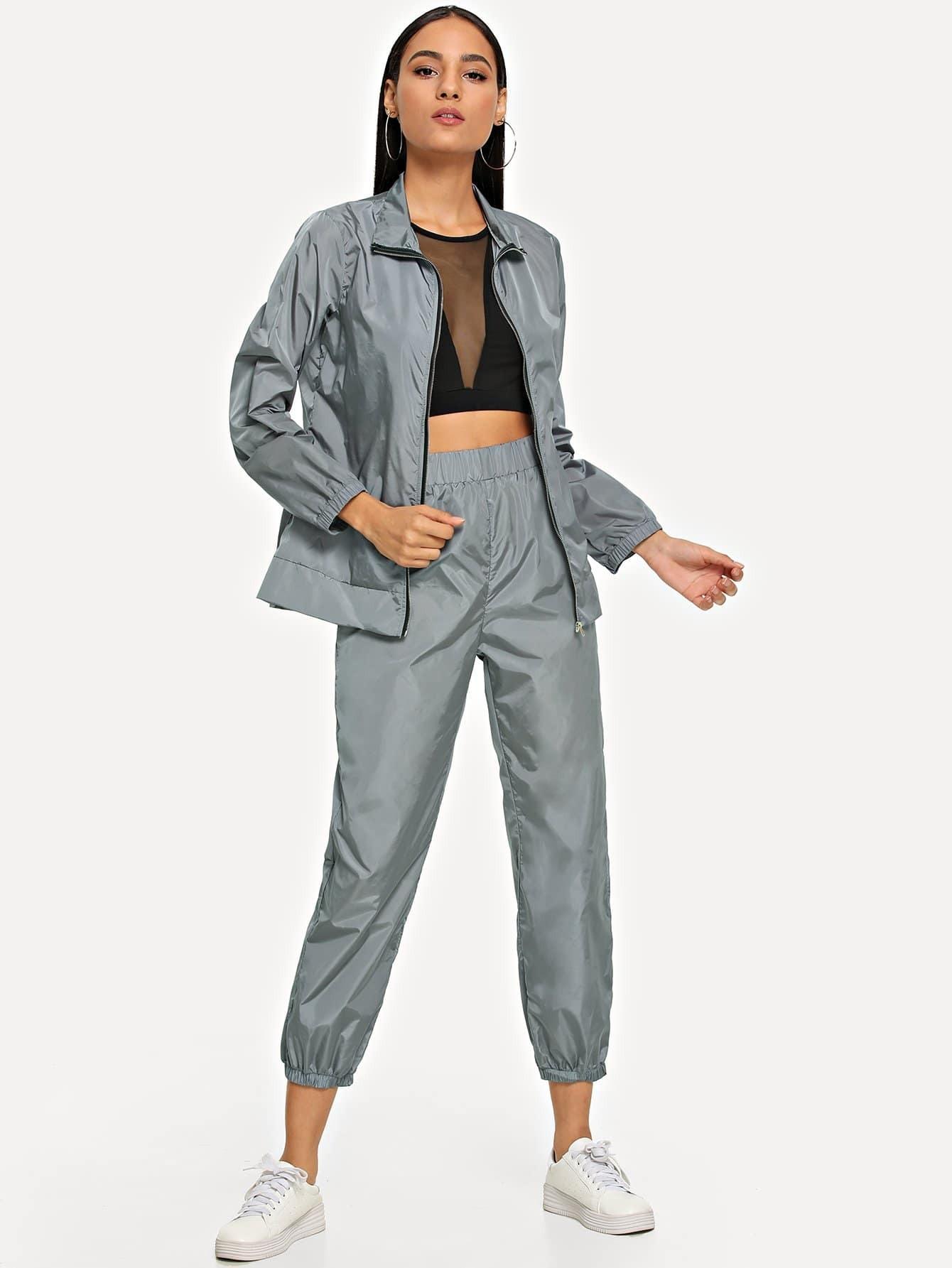 Купить Пальто на молнии и брюки с эластичной талией комплект, Kary, SheIn