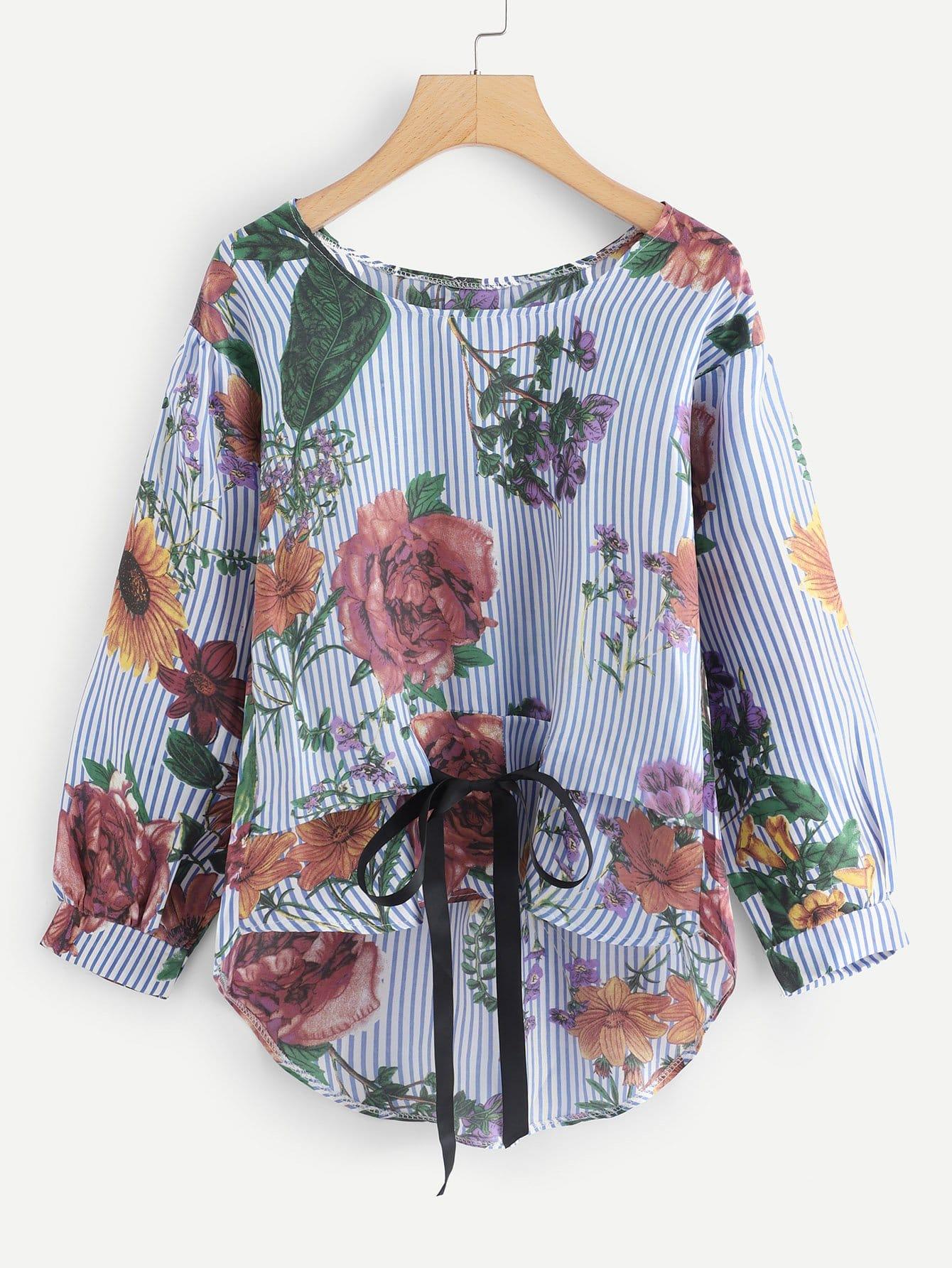 Купить Блузка в полоску с асимметричным низом, null, SheIn
