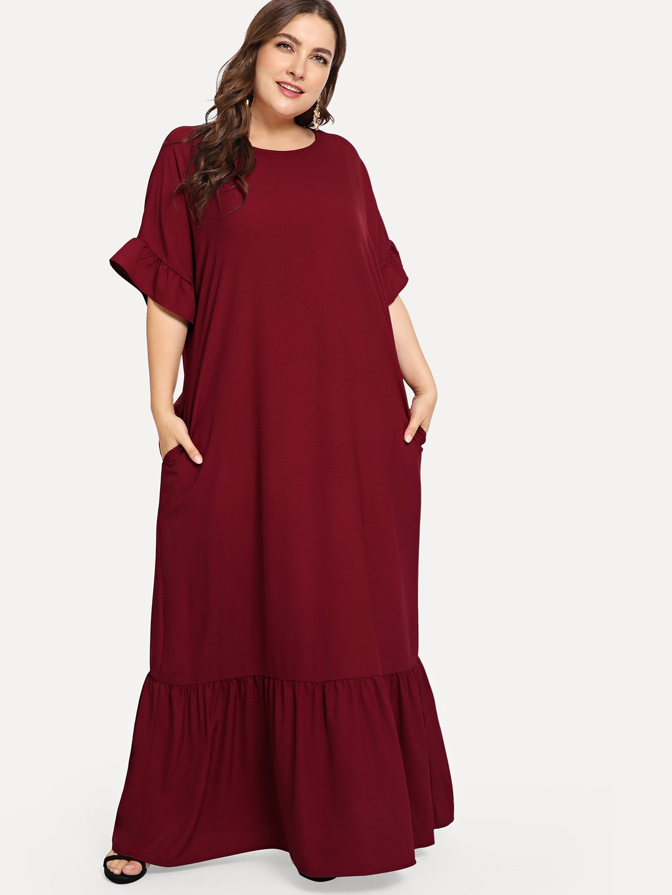 Купить Плюс размеры платье с отделкой оборкой с карманом, Franziska, SheIn