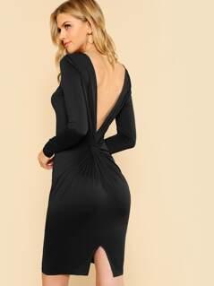 Twist V Back Split Dress