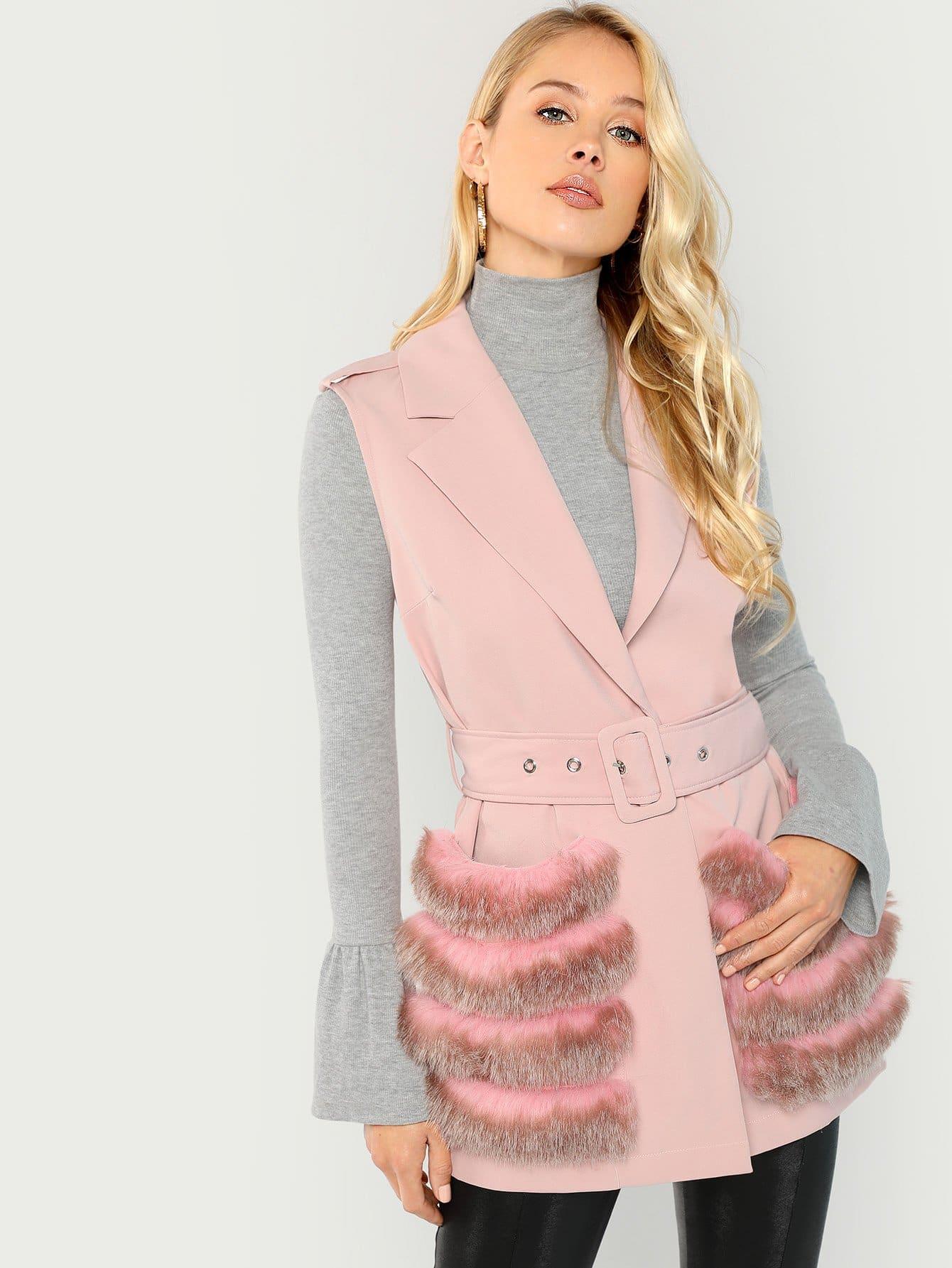 Купить Пальто с поясом из искусственных мехов без рукавов, Allie Leggett, SheIn