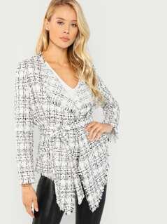 Frayed Trim Belted Tweed Coat