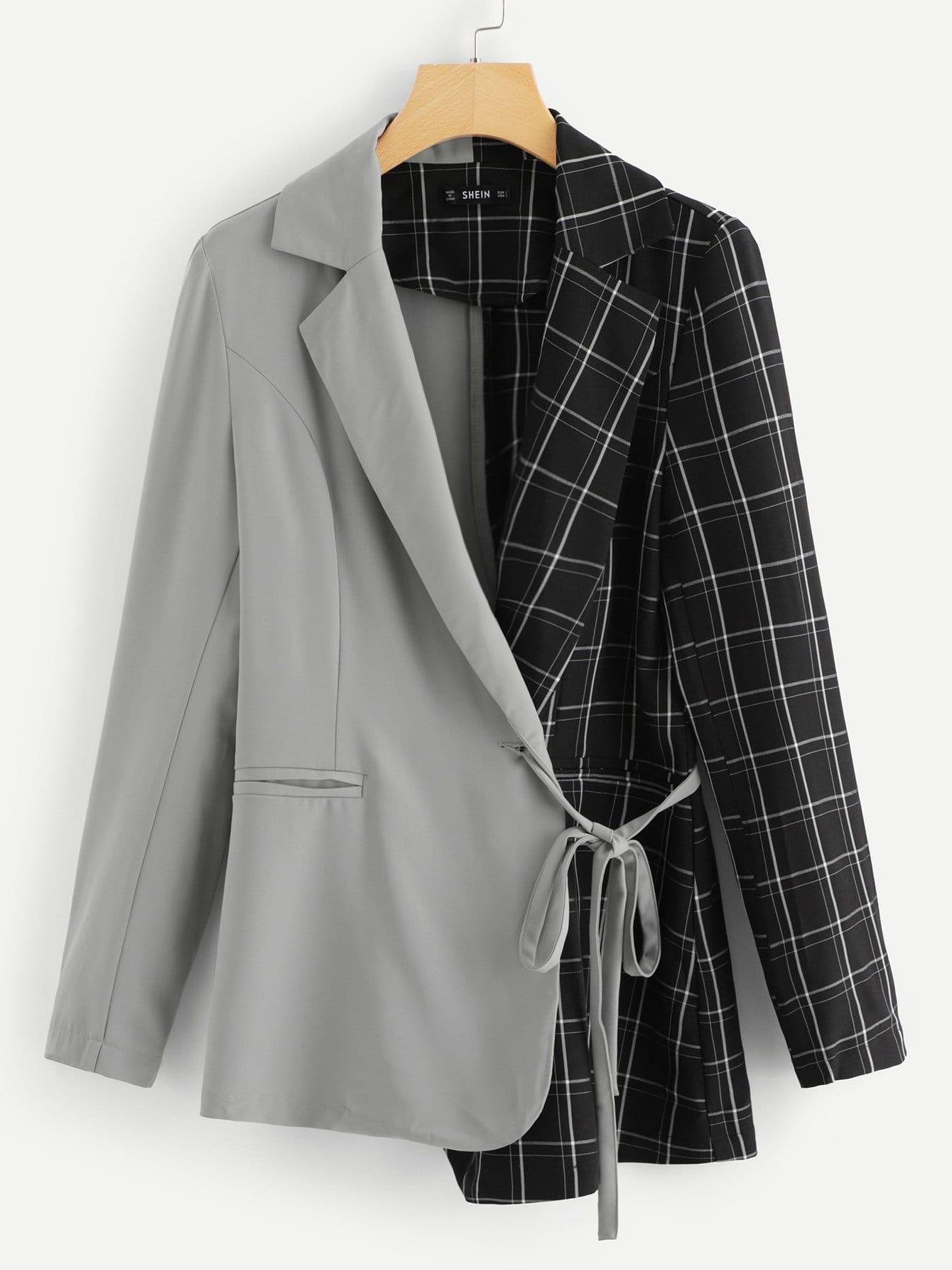 Купить Двухцветное асимметричное пальто с запахом и с поясом, null, SheIn
