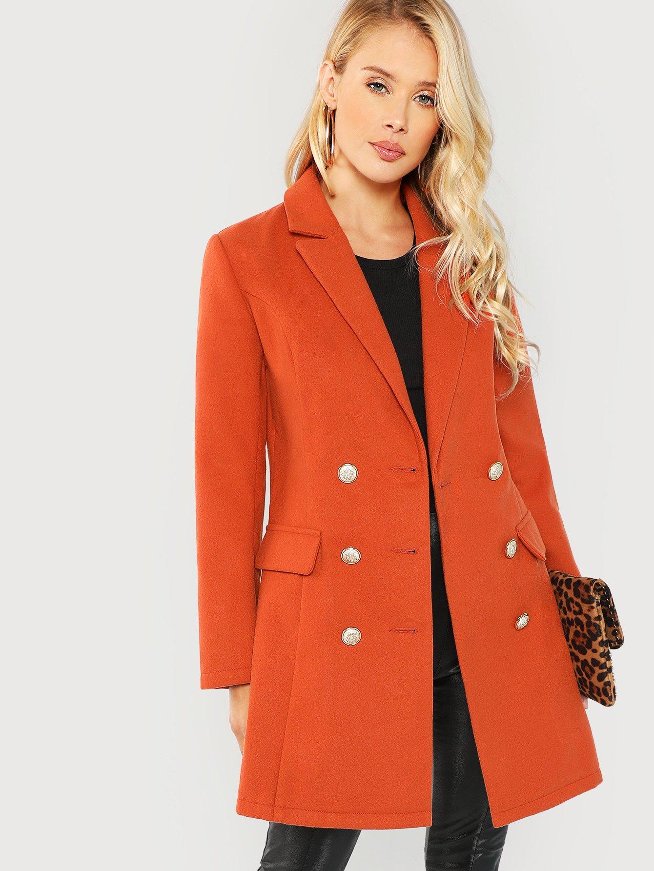 Купить Двубортное простое пальто с воротником, Allie Leggett, SheIn