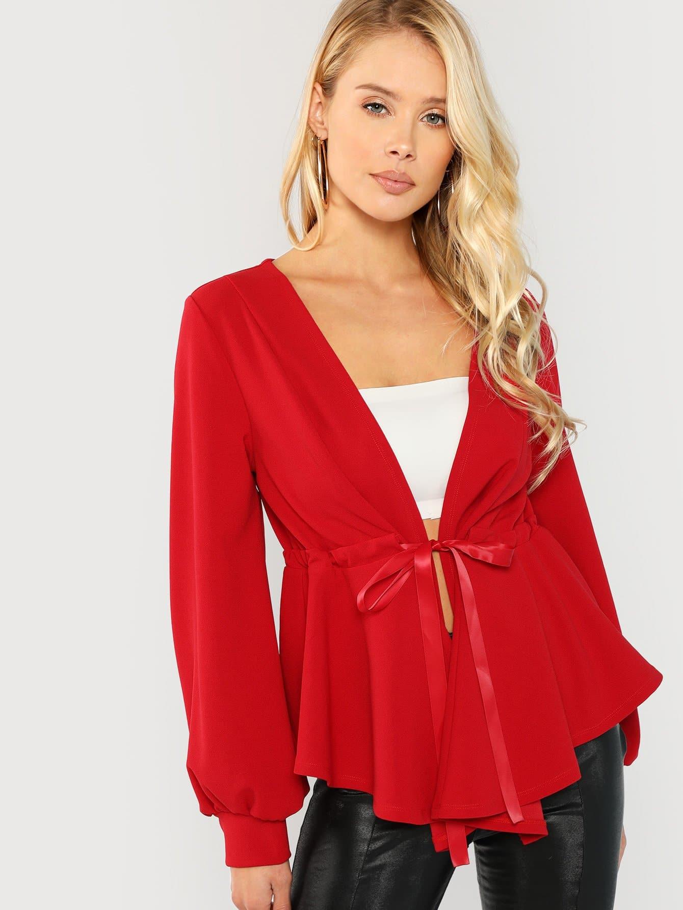 Купить Твердое пальто с глубоким v-образным вырезом, Allie Leggett, SheIn