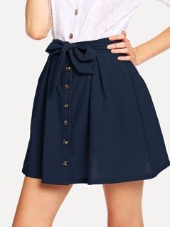Waist Knot Button Solid Skirt