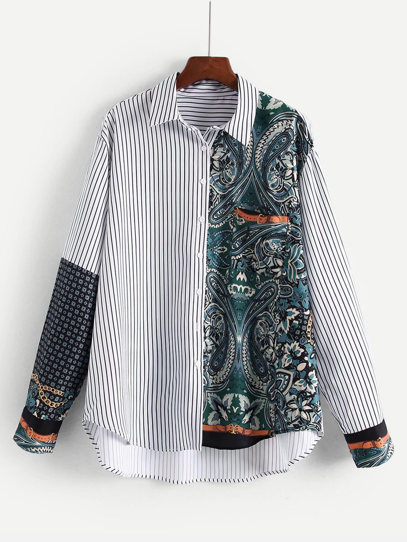 Купить Цветочная блузка в полоску с асимметричным низом, null, SheIn