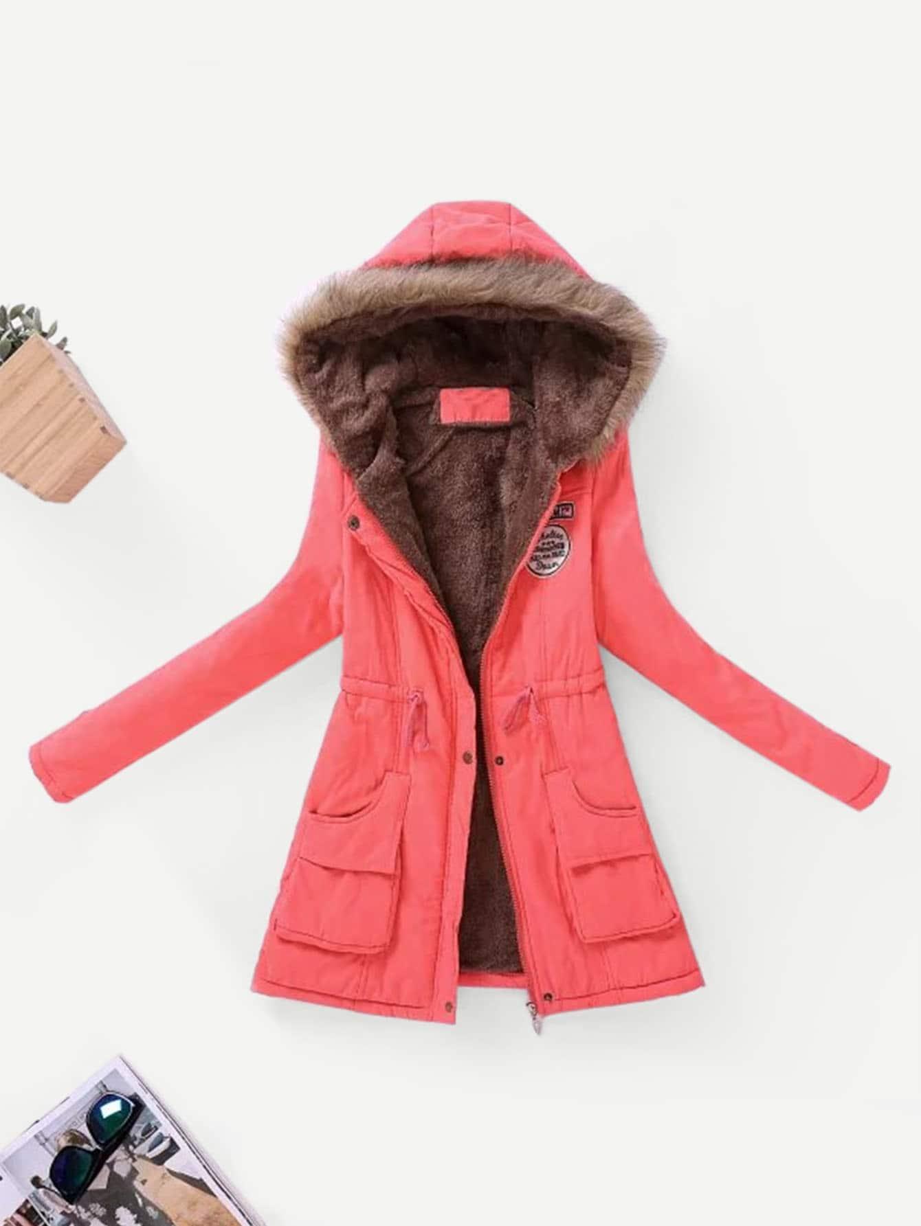 Купить Контрастный подкладкой пальто из искусственного меха, null, SheIn