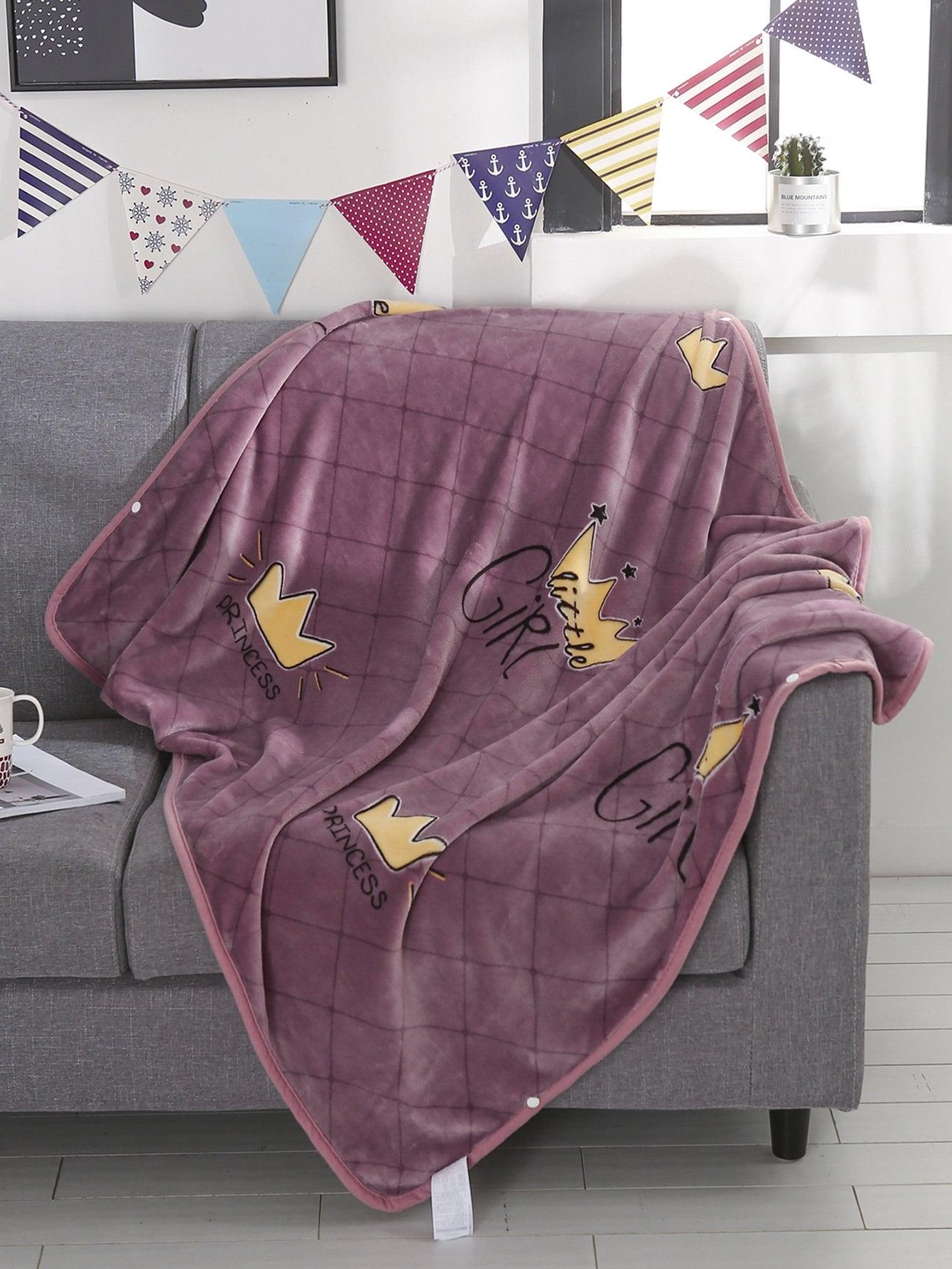 Купить Одеяло с принтом короны 1 шт, null, SheIn