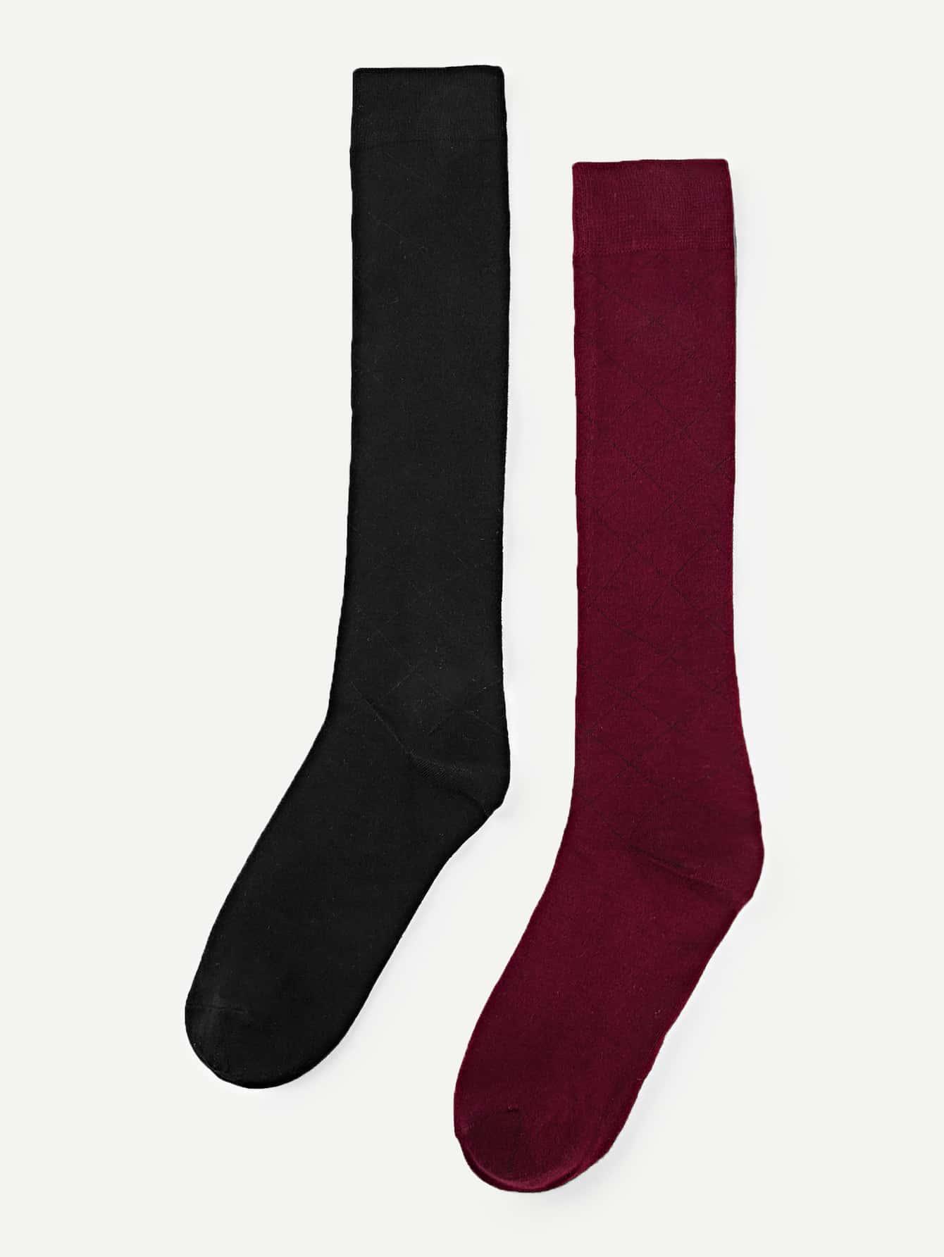 Купить Геометрические теленка длина носки 2 пары, null, SheIn