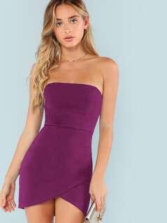 Overlap Asymmetrical Hem Bandeau Dress