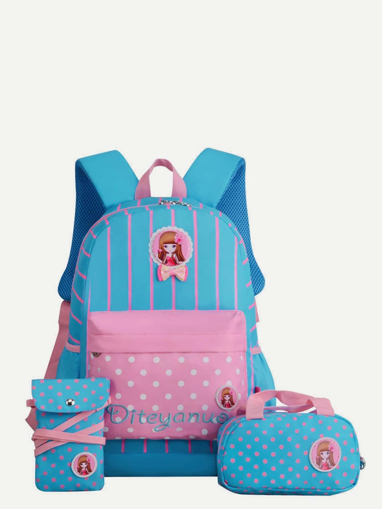 Купить Детский полосатый рюкзак в горошек 3шт., null, SheIn