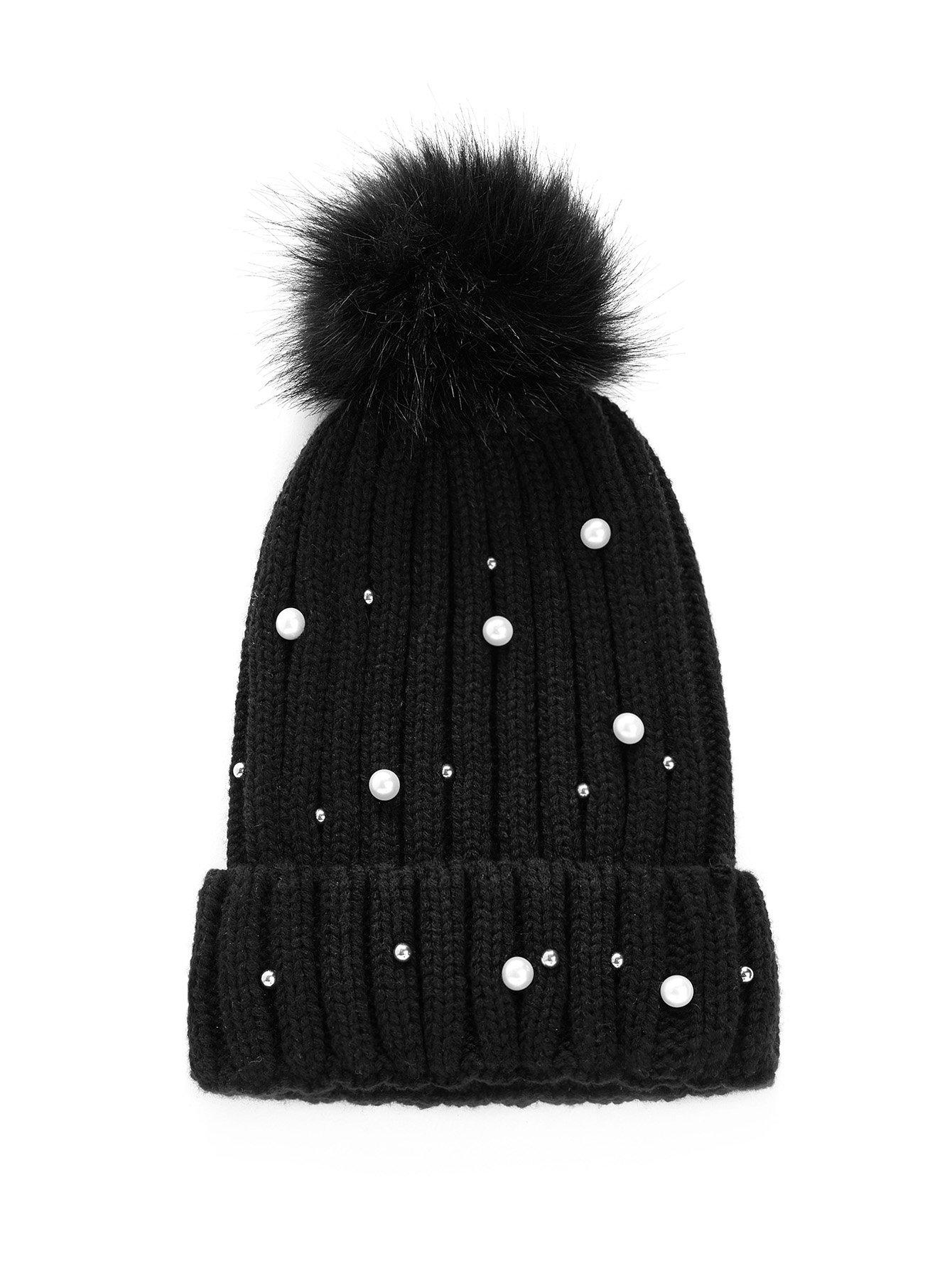 Купить Pompom & Faux Pearl Украшенная шапочка, null, SheIn