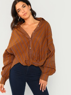 Button And Twist Front Detail Stripe Shirt