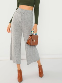 Brushed Knit Elastic Waist Tie Wide Leg Pants