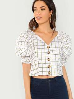 Puffy Sleeves V-Neck Button Front Plaid Blouse