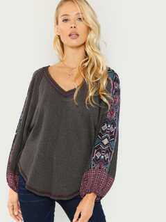 Waffle Knit Printed Long Sleeve Top
