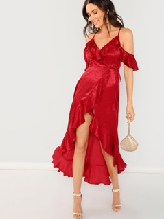 Satin Wrap Front Open Shoulder Ruffle Midi Dress