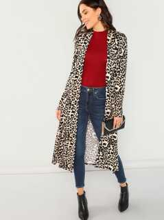 Long Sleeve Jersey Knit Leopard Duster Coat
