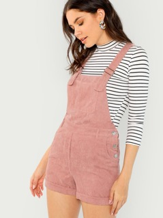 Corduroy Side Pocket Short Overalls
