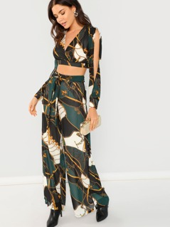 Scarf Print Long Crop Top And Wide Leg Pant Set