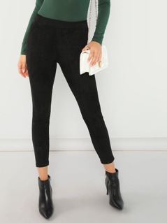Faux Suede Textured Skinny Stretch Pants