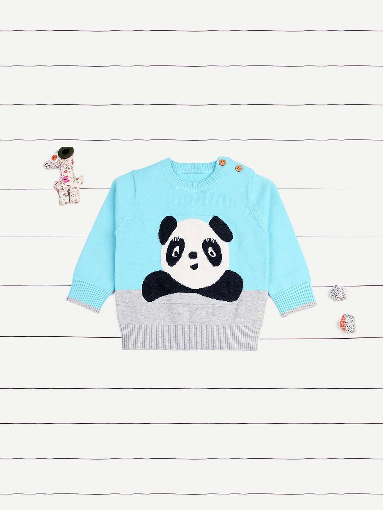Купить Для маленьких мальчиков свитер с пандой, null, SheIn