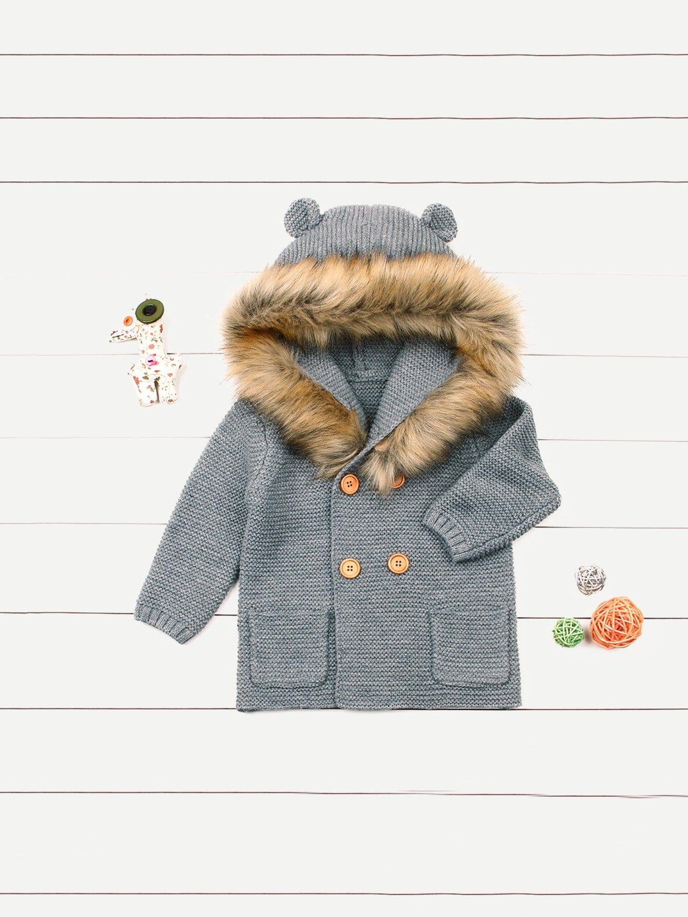 Купить Для маленьких мальчиков свитер пальто с капюшоном, null, SheIn