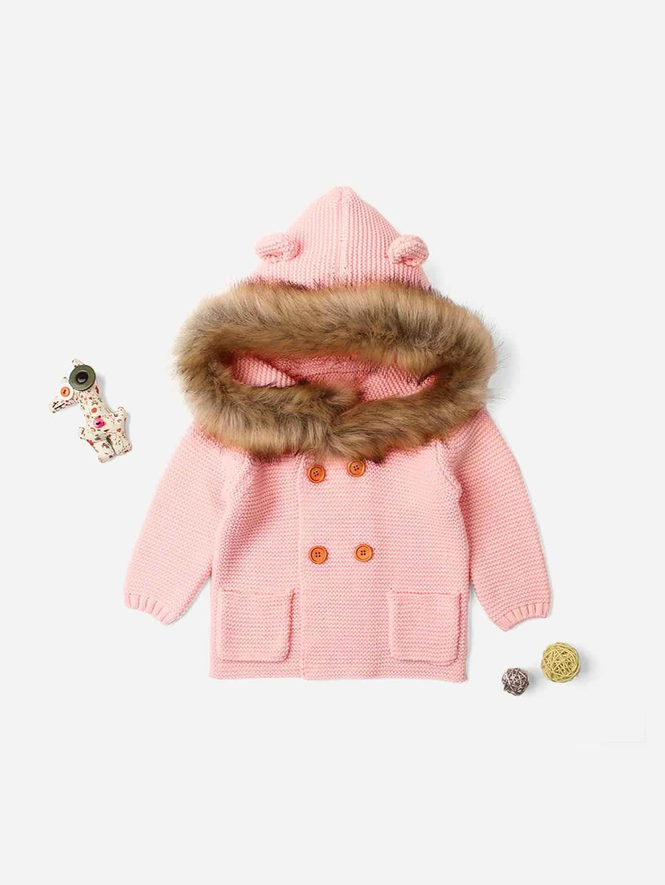 Купить Для маленьких девочек свитер пальто с капюшоном, null, SheIn