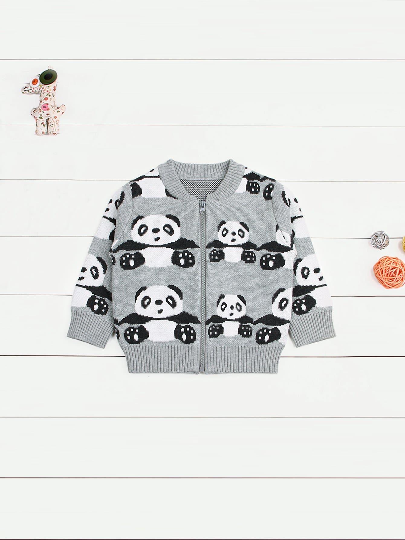 Купить Для маленьких мальчиков свитер пальто с пандой, null, SheIn