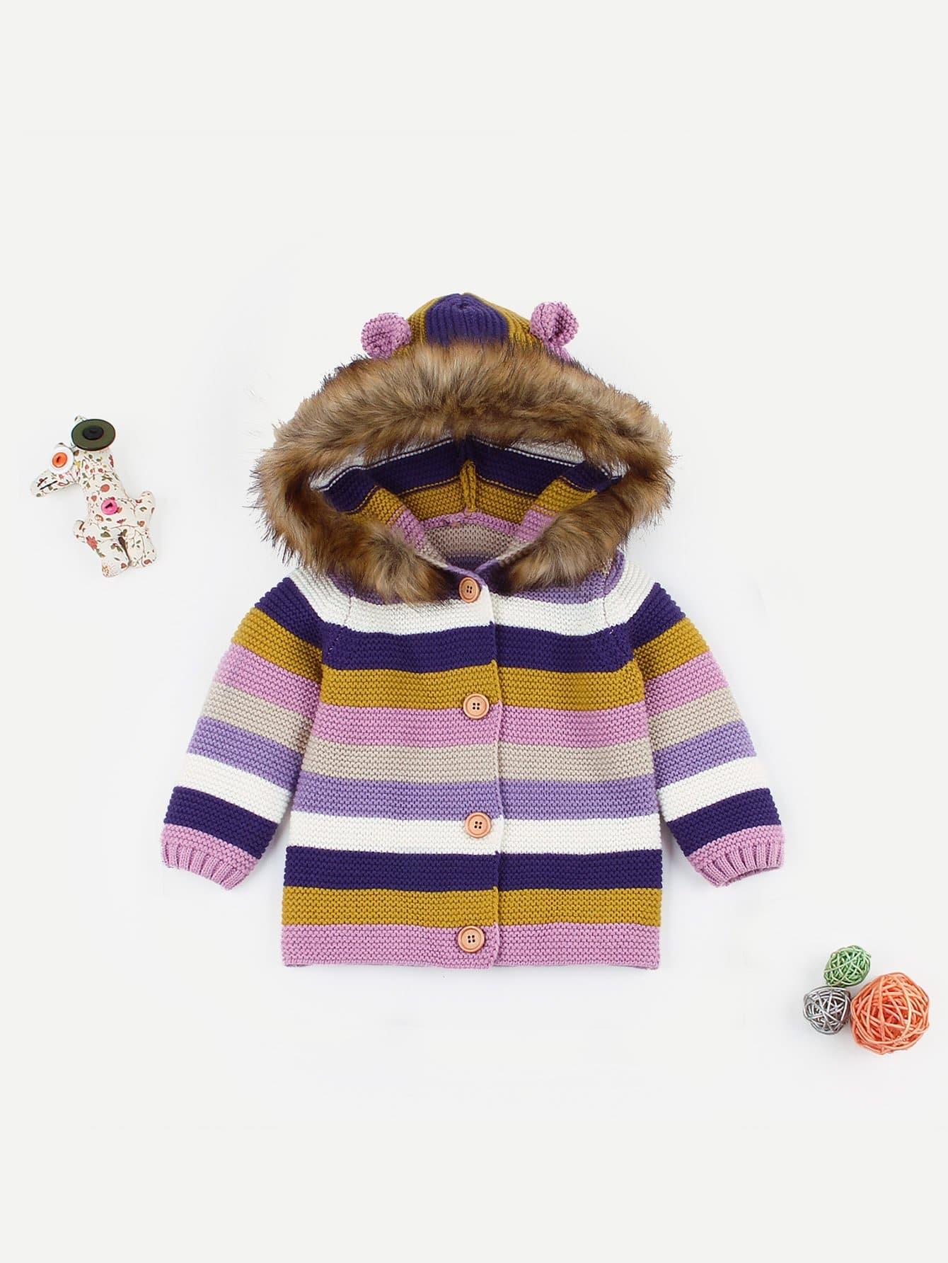 Купить Для маленьких девочек свитер пальто с капюшоном в полоску, null, SheIn