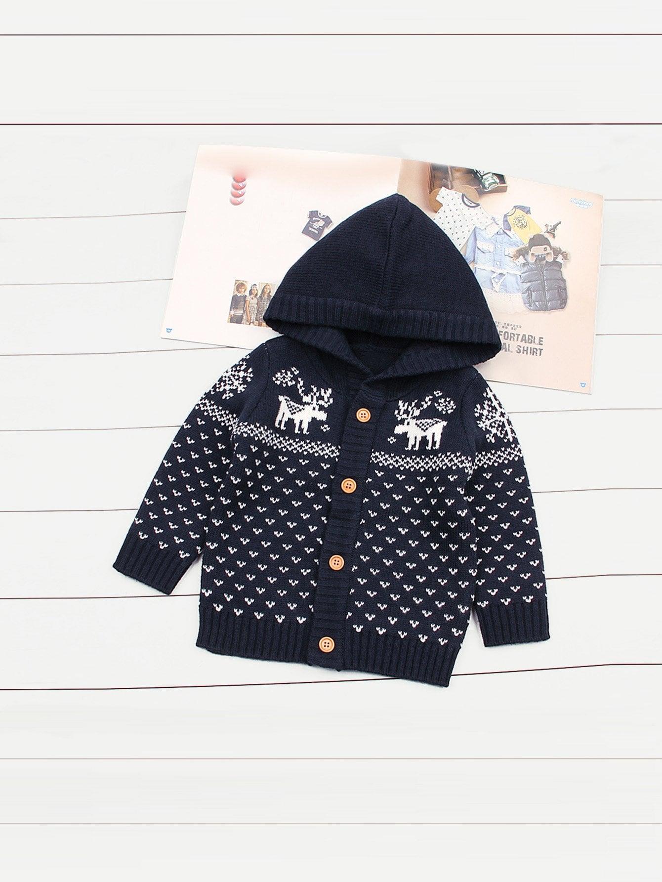 Для маленьких мальчиков свитер пальто с элком, null, SheIn  - купить со скидкой