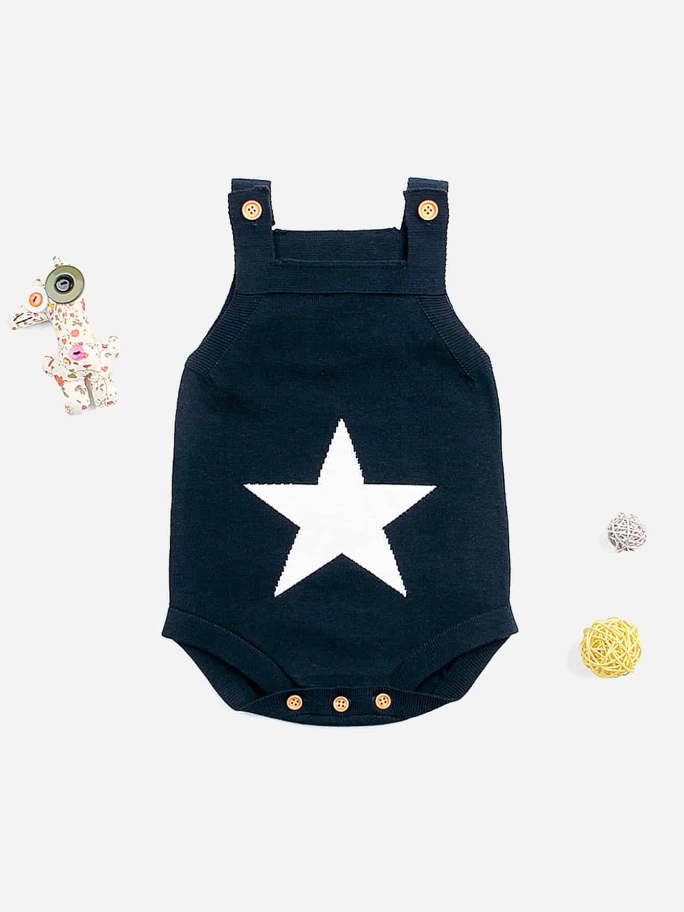 Купить Для маленьких мальчиков вязанный комбинезон с звездой, null, SheIn