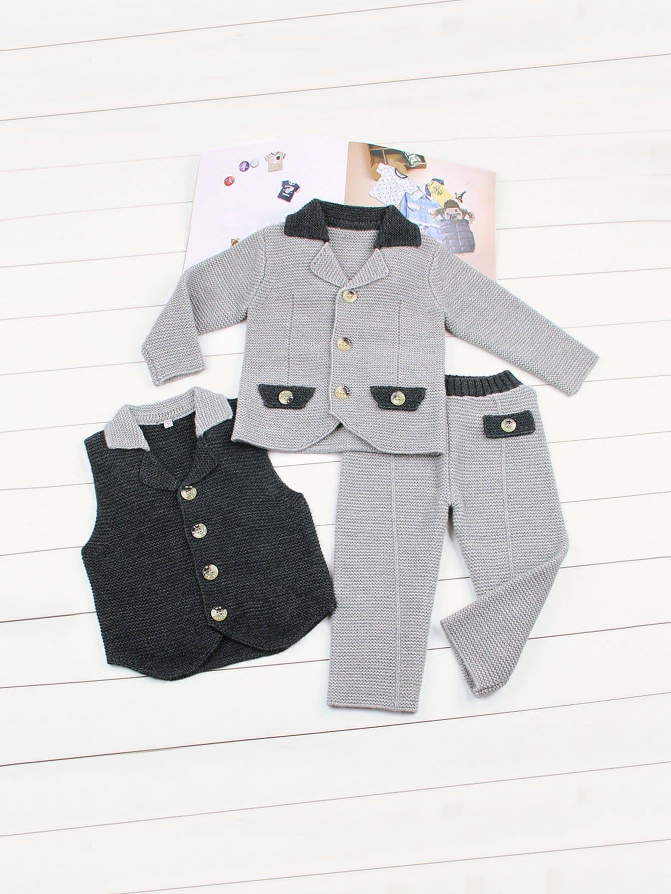 Купить Для маленьких мальчиков свитер пальто и жилет и брюки, null, SheIn