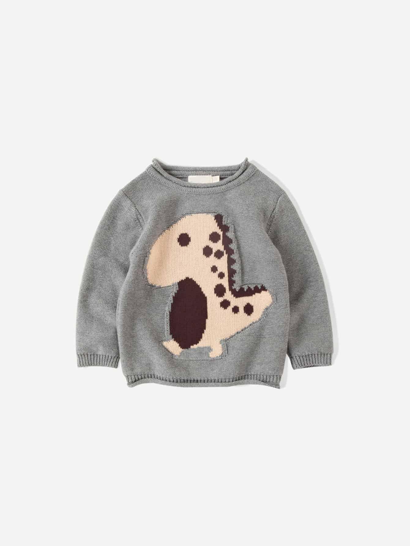 Купить Для маленьких мальчиков свитер с принтом динозавра, null, SheIn