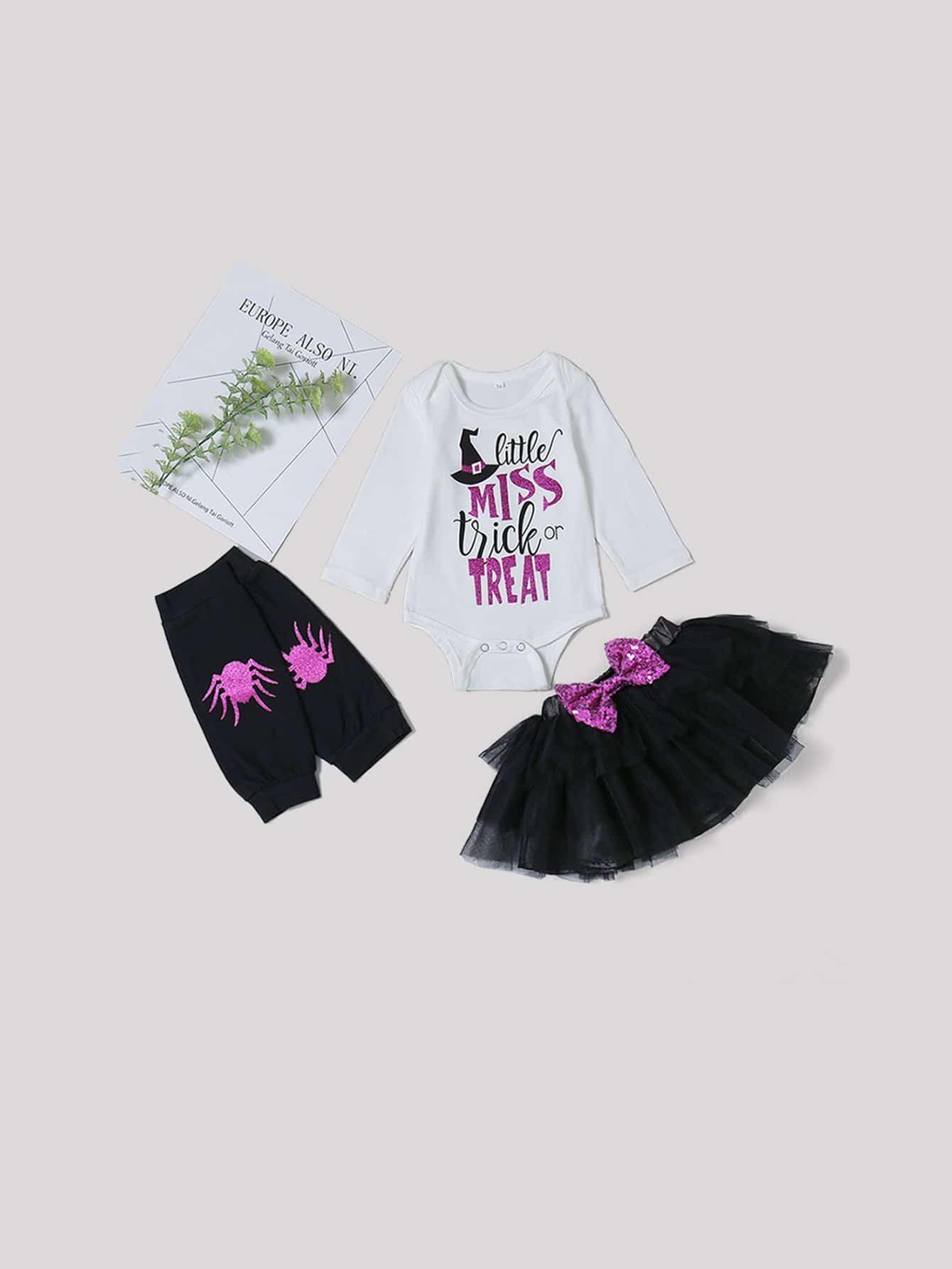 Купить Для маленьких девочек комбинезон и юбка и Коленные подушки 1 пара, null, SheIn