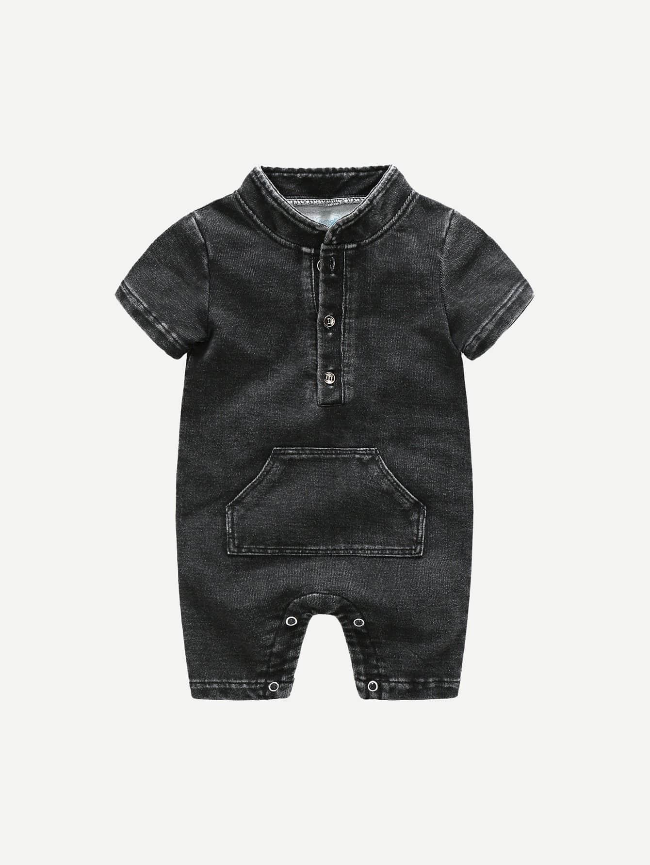 Купить Для маленьких мальчиков джинсовый комбинезон с карманом, null, SheIn