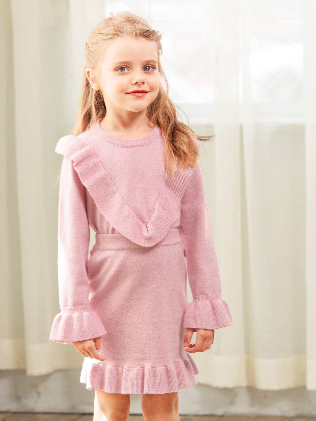 Купить Для маленьких девочек свитер и юбка со оборками, null, SheIn